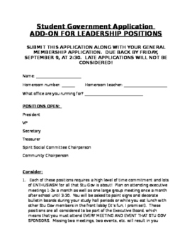 Student Government Council Application Secondary Middle High ADD-ON 4 LEADERSHIP