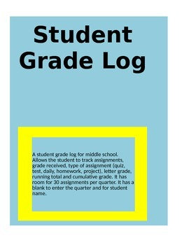 Student Grade Log for Grades 6-8