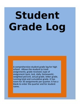 Student Grade Log for grades 9-12