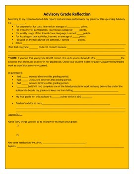 Student Grade Reflection Contract