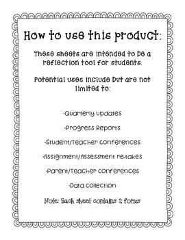 Student Grade Reflection Sheet