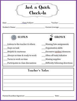 Student Grade Report / Check-In Sheet