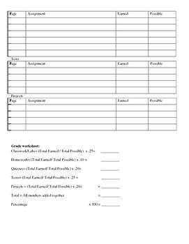 Student Grade Worksheet