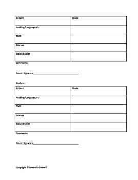 Student Grade sheet
