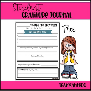 Student Gratitude Journal Page