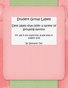 Student Group Labels