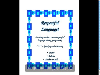 Student Group Work- Respectful Language Poster & Rubrics