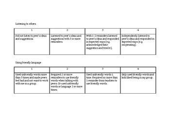 Student Group Work Rubrics (Social Skills)