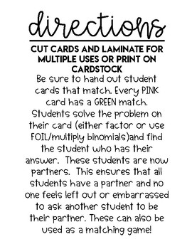 Student Grouping Cards: Factoring Polynomials (a>1)