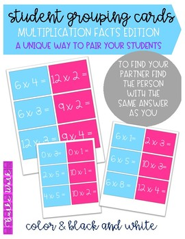 Student Grouping Cards: Multiplication Facts Edition