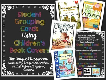 Student Grouping Cards Using Children's Book Covers
