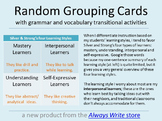 Student Grouping Cards with Grammar & Vocab Transitional Activities--Full Set!