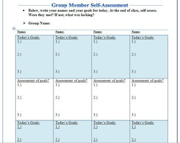 Groupwork: Goal Setting and Self Assessment Chart for Collaboration