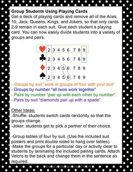 Student Groups & Pairs Organization Using Playing Cards