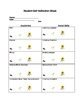 Student Growth-Based Self Reflection/Evaluation Sheet