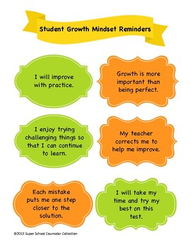 Student Growth Mindset Reminders