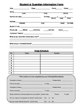 Student & Guardian Information Form