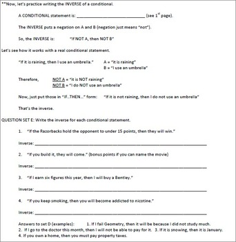Student Guide Conditional Statements Deductive Reasoning