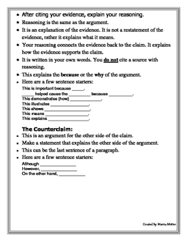 Student Guide for Writing a Claim, Evidence and Reasoning