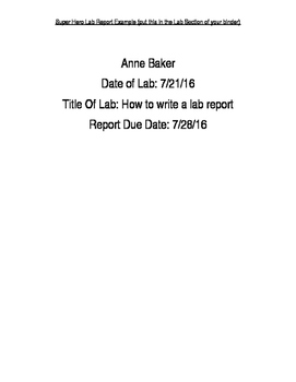 Student Guide to Writing A Science Lab Report