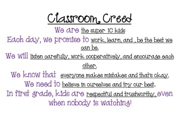 Student Guided Classroom Creed