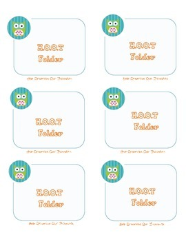 """Student """"HOOT"""" folder labels (Help Organize our Thoughts)"""