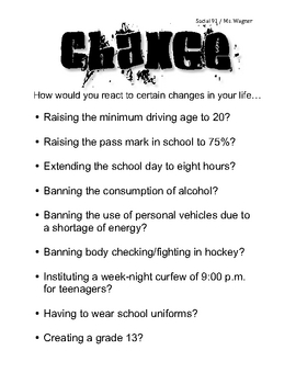 Student Handout & Worksheet on Change