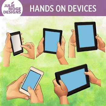Student Hands on Devices Clip Art Illustrations