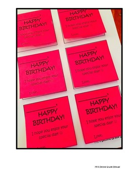 "Customizable Student ""Happy Birthday"" Post-It Notes!"