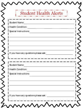 Student Health Alert form