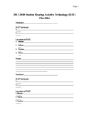 Student Hearing Assistive Technology Checklist