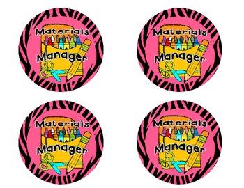 Student Helper Badges Pink Zebra