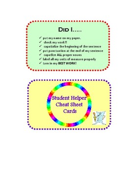 Student Helper Cheat Sheet Cards