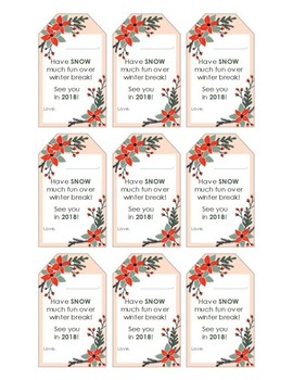 Student Holiday Gift Tags