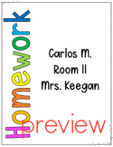 Student Homework Binder I Homework Folder Cover Printable Template