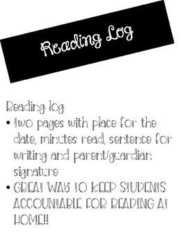 Student Homework Reading Log