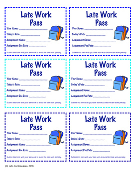 Classroom Passes for Homework, Tests, Late Work