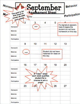 Student Homework/Preparedness/Materials Assessment Sheets