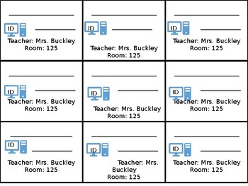 Student ID and Log-in Cards (editable)