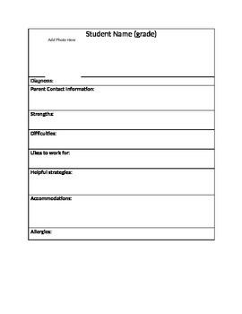 Student IEP Information Sheet