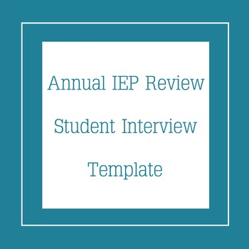 Student IEP Interview Template by High School Art Resources | TpT