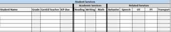 Student IEP Services Excel Worksheet