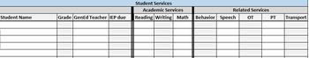 Student IEP Services Excel Worksheet