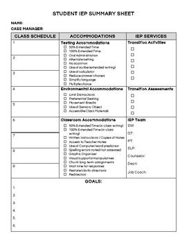 Student IEP Summary Sheet