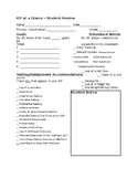 Student IEP at a Glance Worksheet