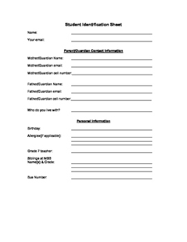 Student Identification Sheet