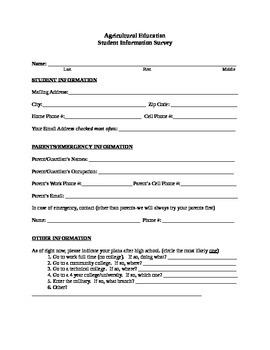 Student Important Info Form
