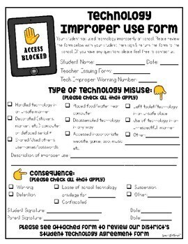 Student Improper Technology Use Forms