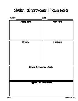 Student Improvement Team Notes