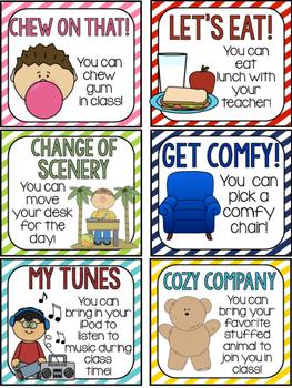 Student Incentive Reward Cards